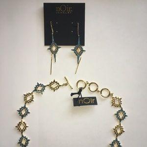 Noir Jewelry Earring Bracelet Set Gold NWT!